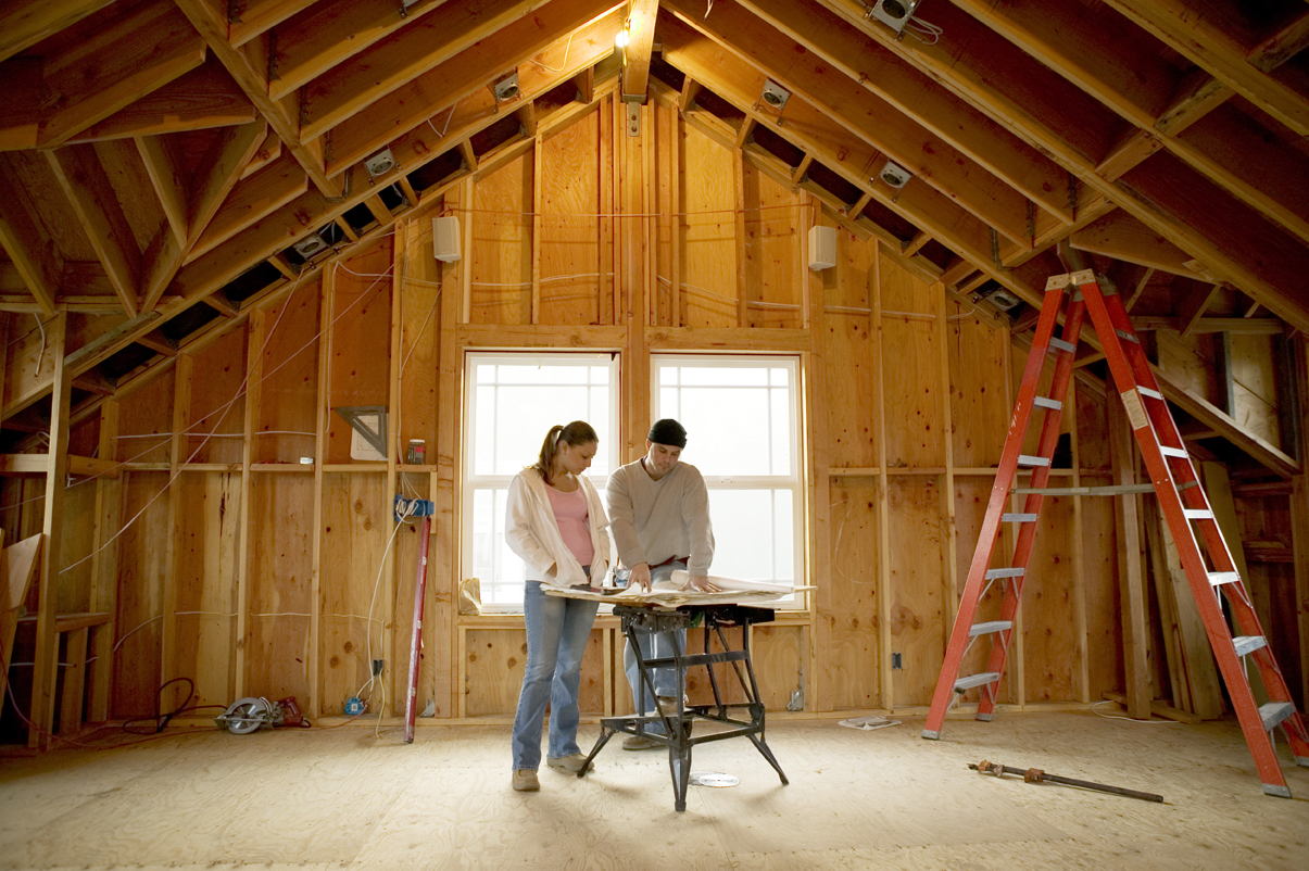Couple in Unfinished Attic